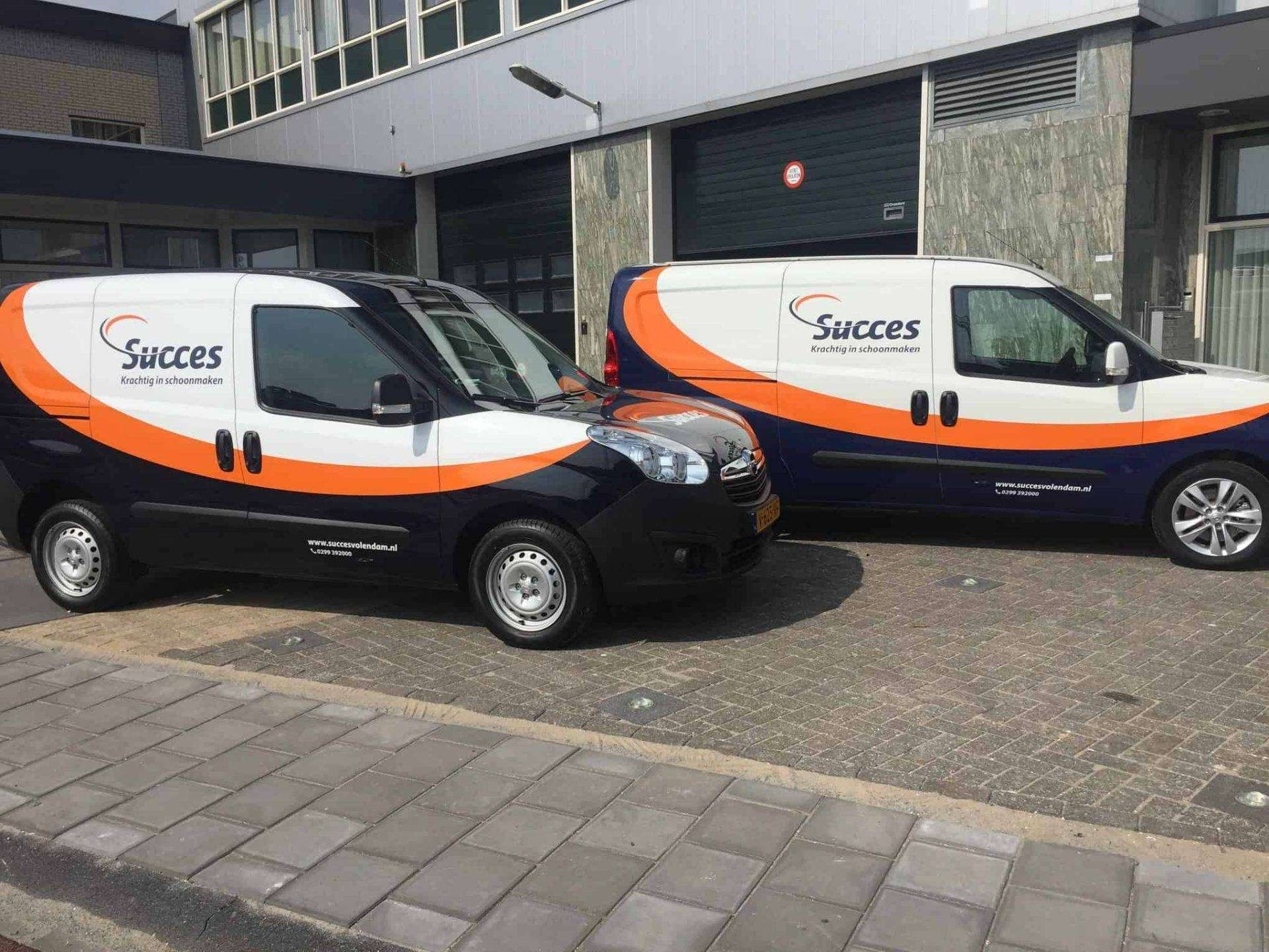 Carwrapping wagenpark Succes Schoonmaak