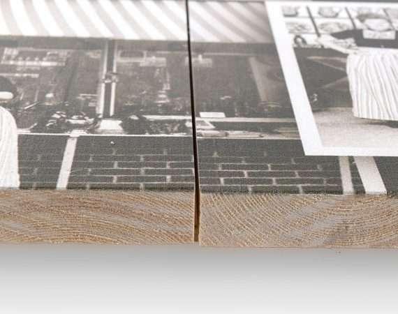Robuuste uitstraling met een foto op hout