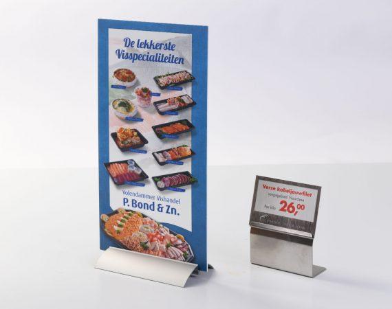 Prijskaartjes en tafelstandaards direct op schuimplaat geprint